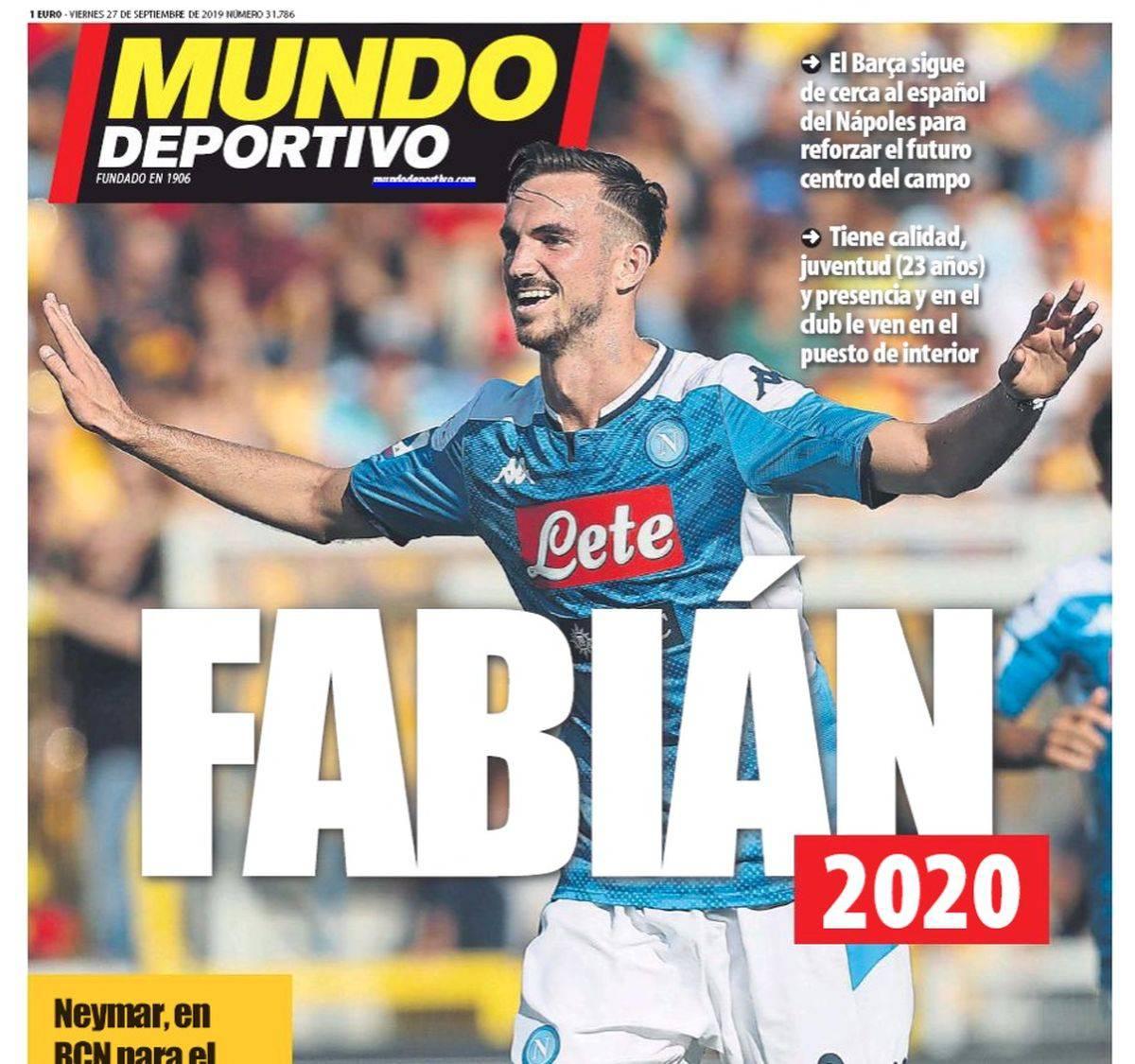 La prima pagina di Mundo Deportivo dedicata a Fabian Ruiz