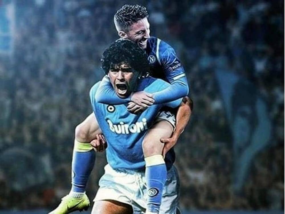 Un bel fotomontaggio con Maradona che prende in braccio Mertens