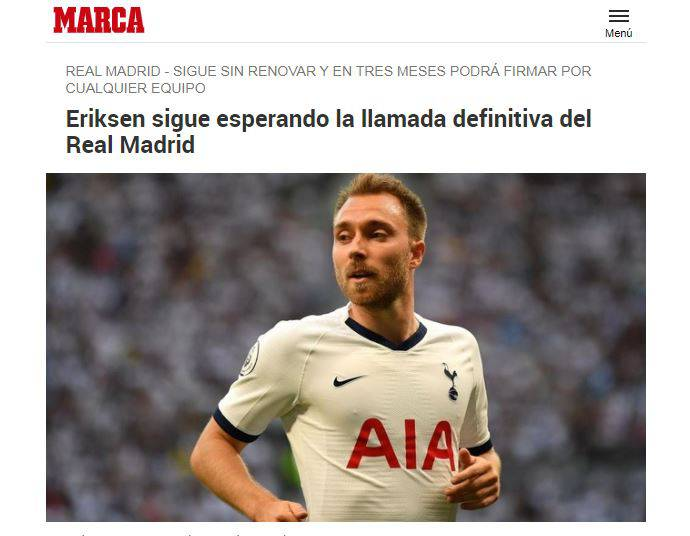 Marca apre all'ipotesi Eriksen al Real Madrid