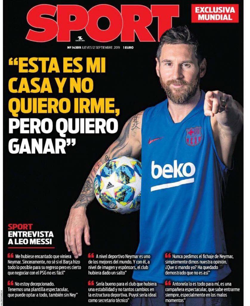 """""""Sport"""" con Messi in copertina"""