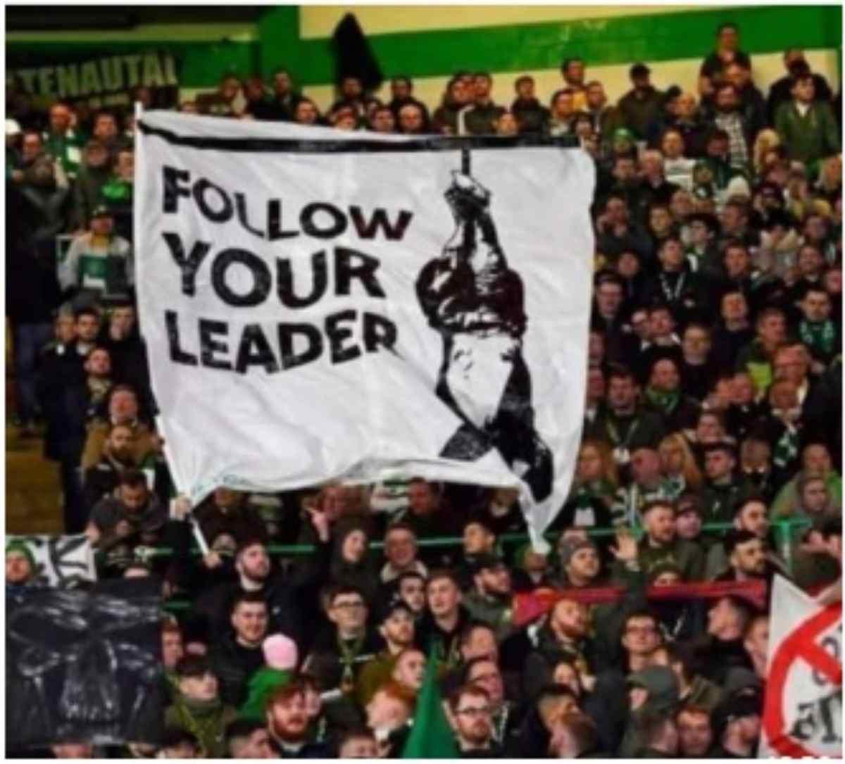 Striscione esposto durante Celtic-Lazio