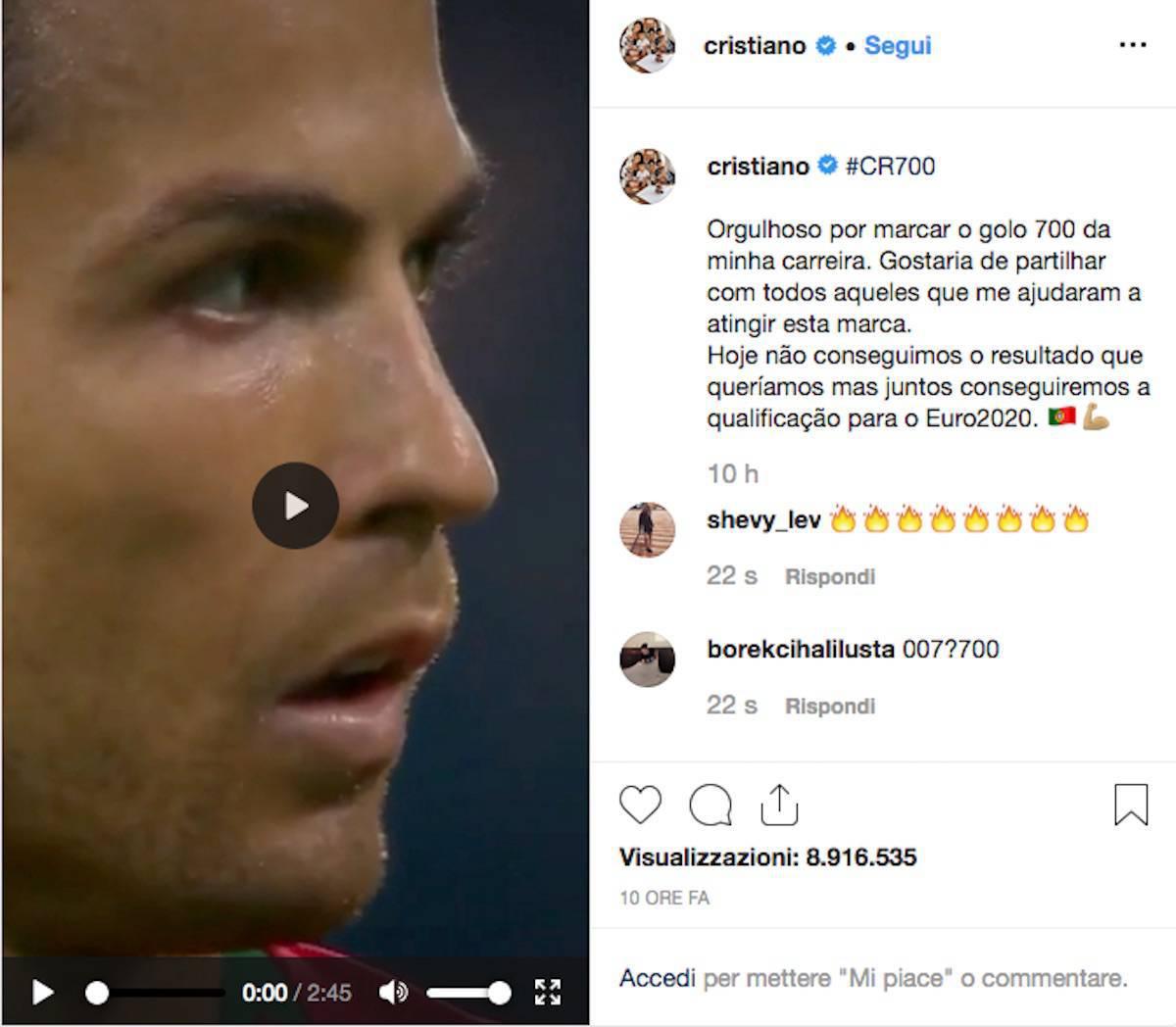 Il post di Cristiano Ronaldo
