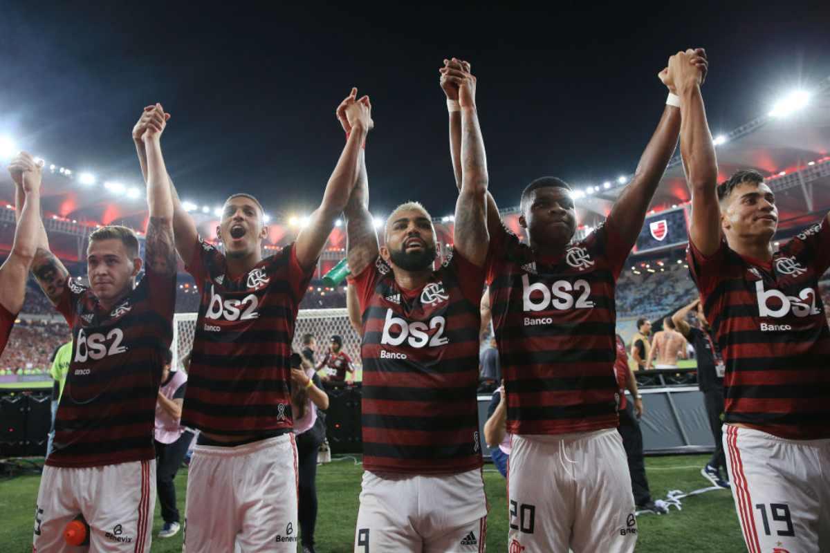 I giocatori del Flamengo festeggiano la vittoria sul Gremio