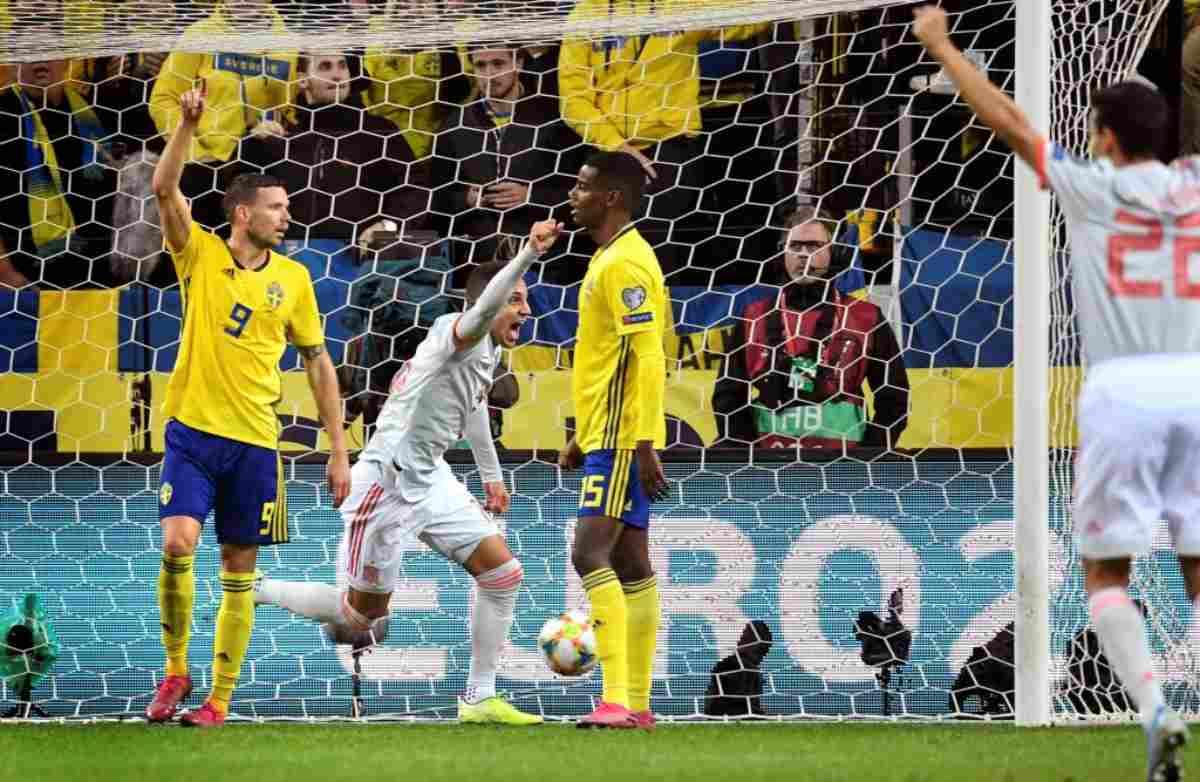Qualificazioni Euro 2020, Spagna pari in extremis in Svezia. Bosnia quasi fuori