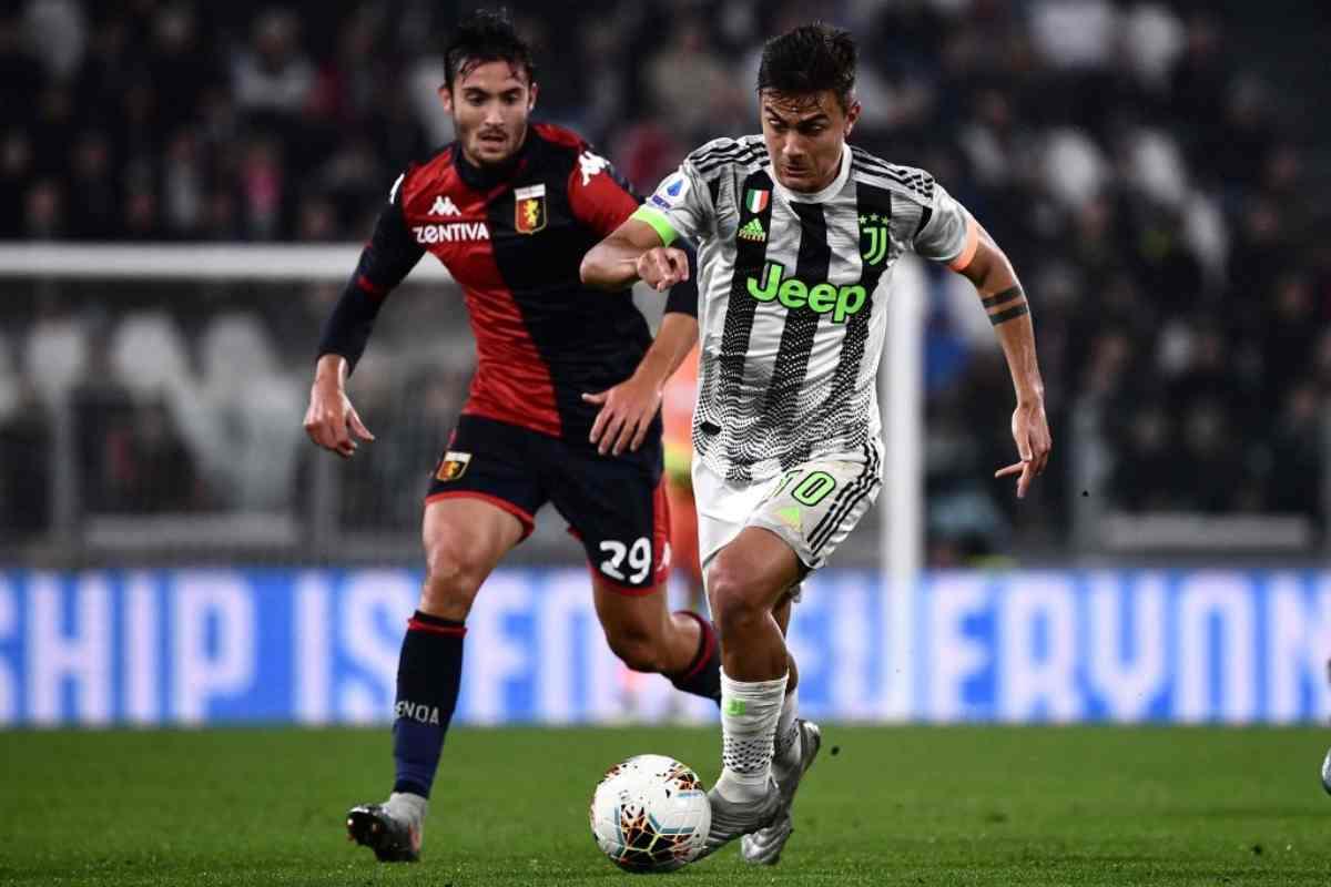 Dybala in azione in Juve-Genoa