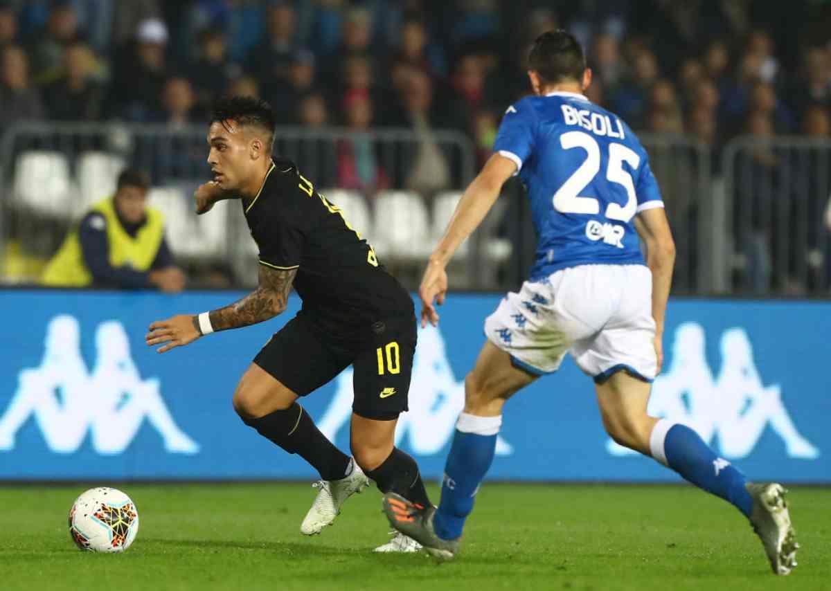 Lautaro Martinez in gol in Brescia-Inter