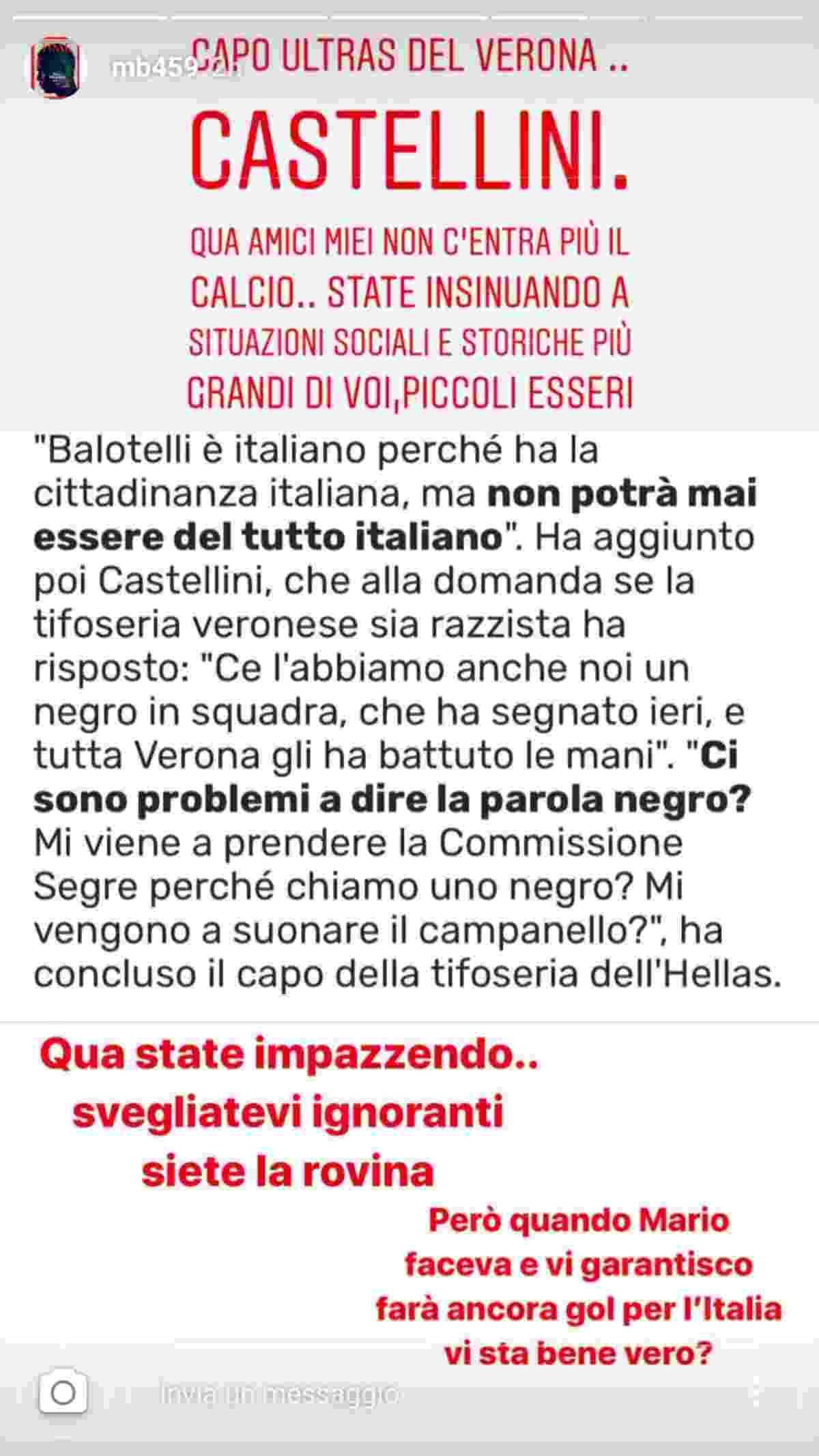 La risposta di Balotelli all'ultrà del Verona