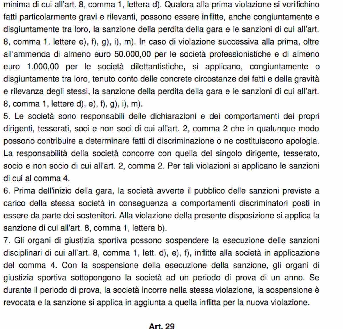 Codice di Giustizia Sportiva - Atti discriminatori - parte 2