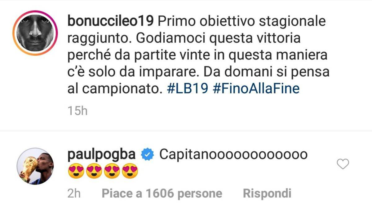 Pogba commenta la foto di Bonucci