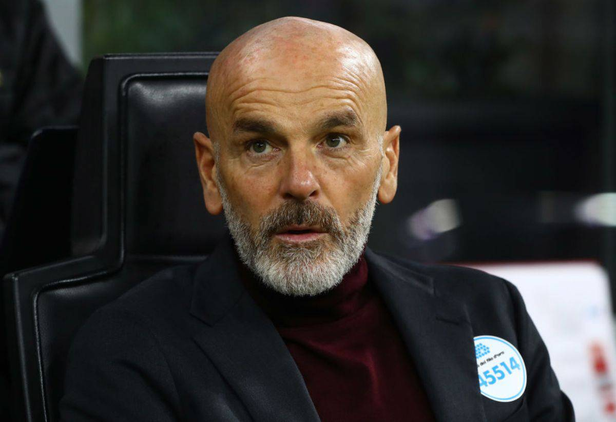Stefano Pioli in conferenza stampa per Milan-Napoli