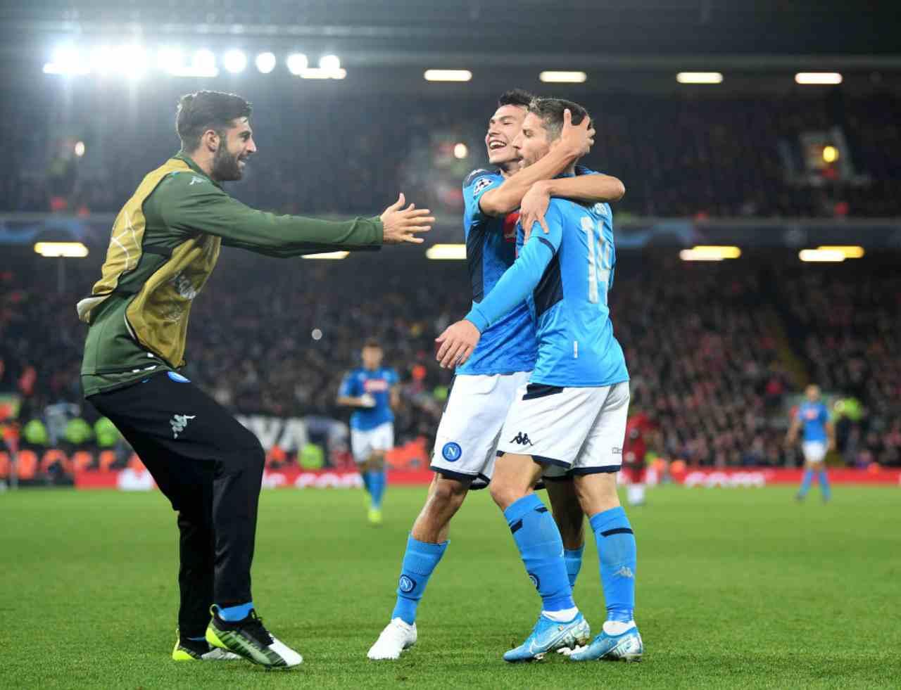Mertens in gol in Liverpool-Napoli