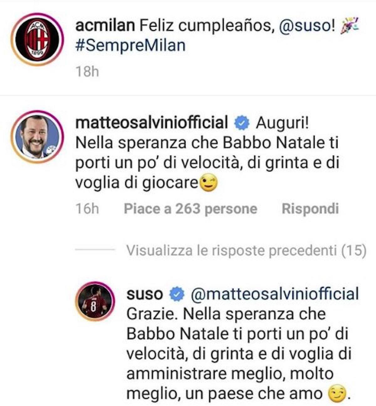 Suso-Salvini, battibecco social: leader leghista lo attacca e lui risponde