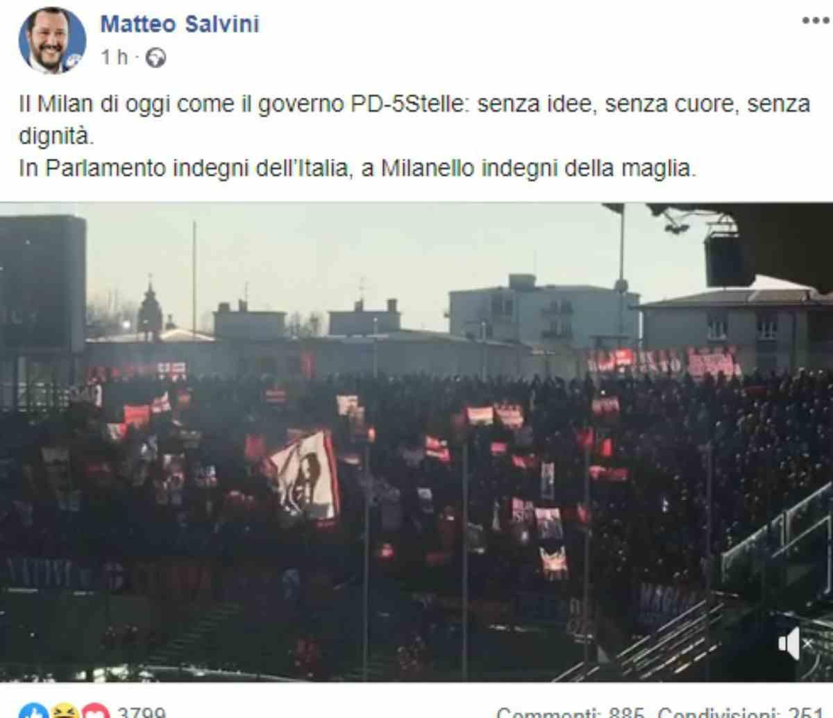 """Salvini: """"Il Milan di oggi è senza dignità, come il governo"""""""