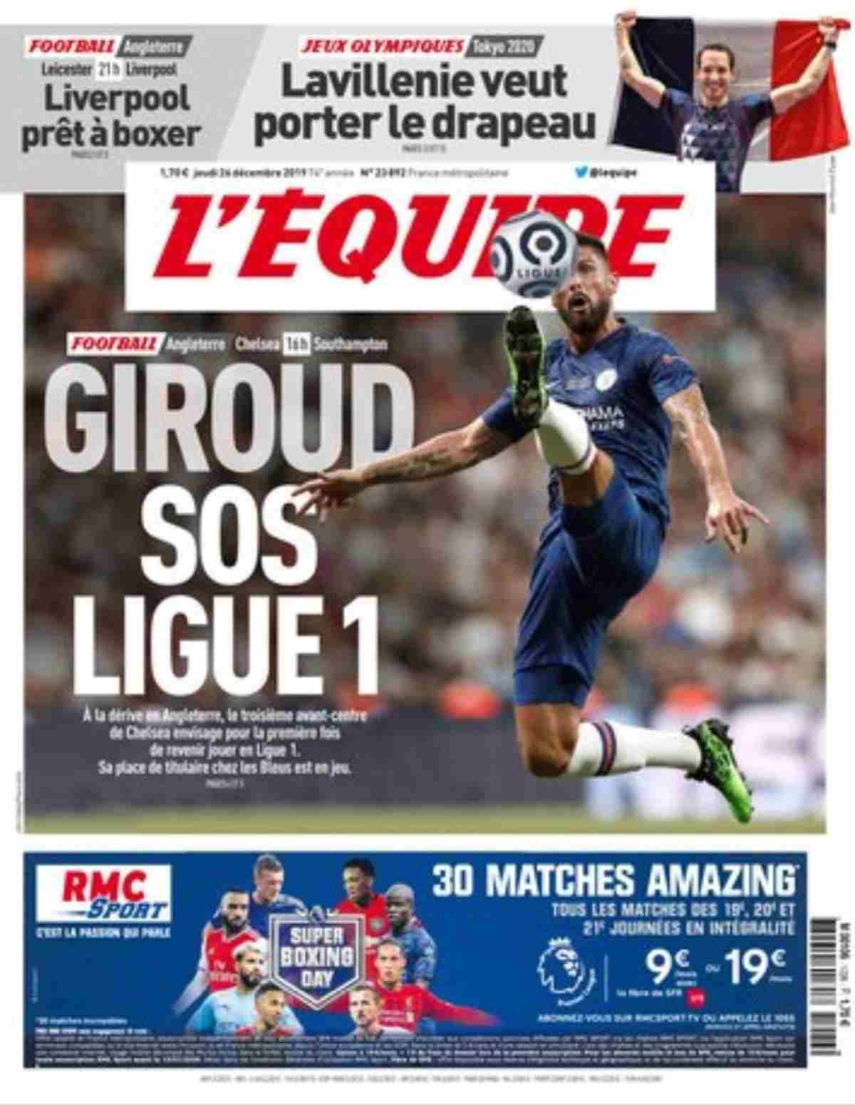 La prima pagina dell'Equipe con Giroud in copertina