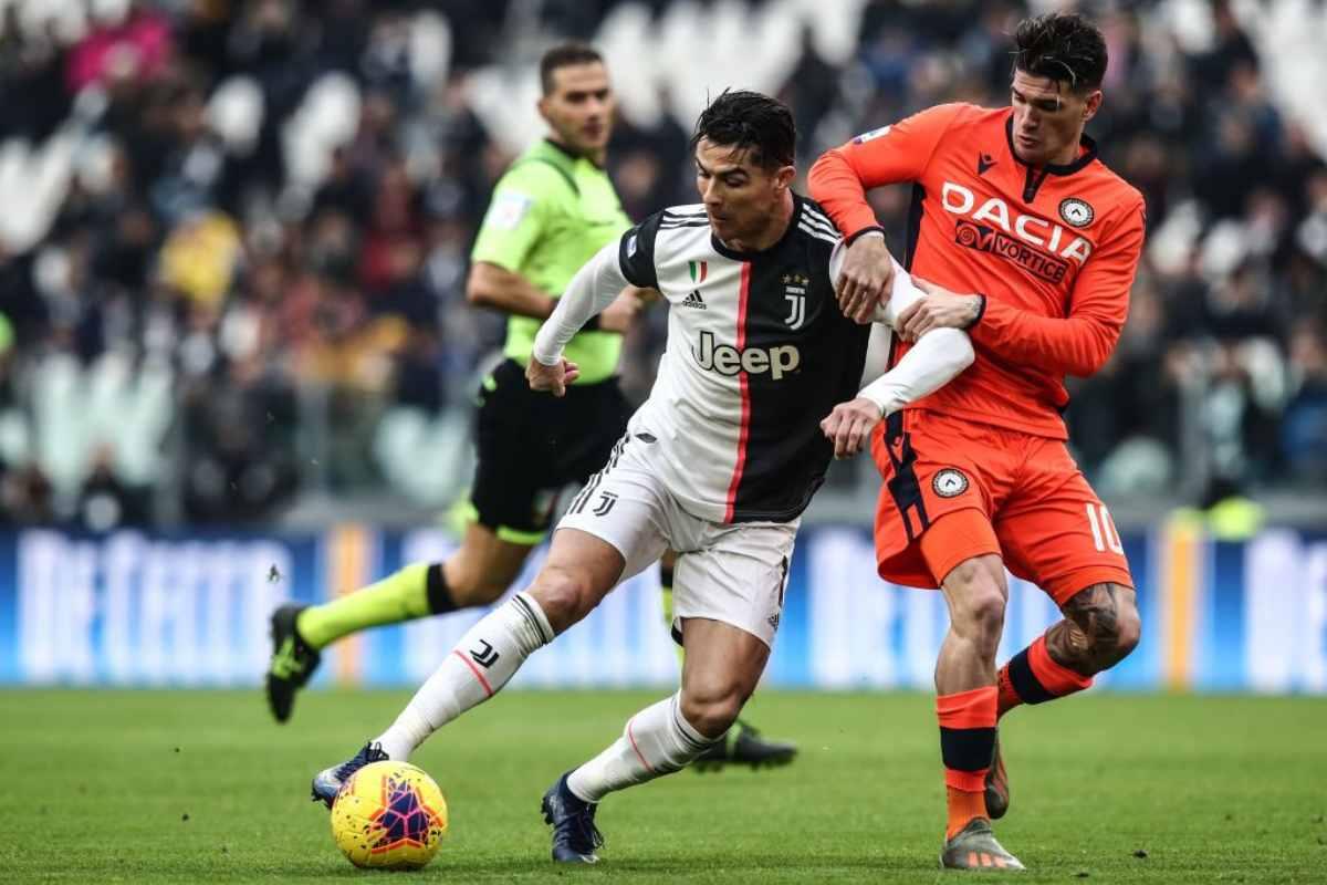 Juventus-Udinese 3-1, doppietta di Ronaldo e gol di Bonucci: bianconeri primi