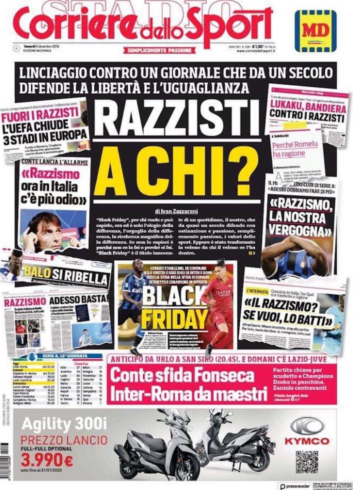 """Il Corriere dello Sport si difende dalle accuse di razzismo: """"Razzisti a chi?"""""""
