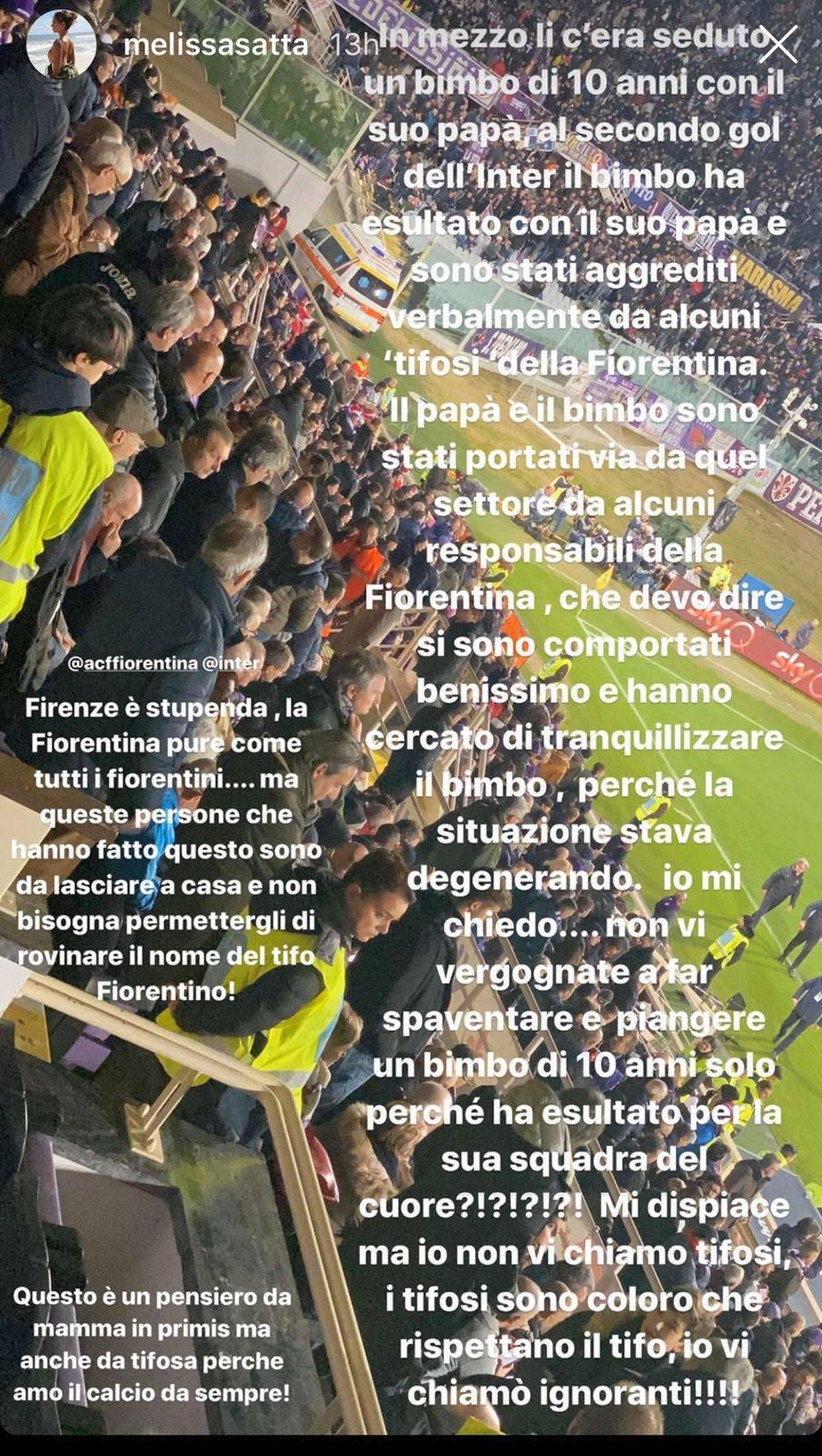 "Melissa Satta denuncia social: ""A Firenze bimbo interista aggredito, vergogna"""