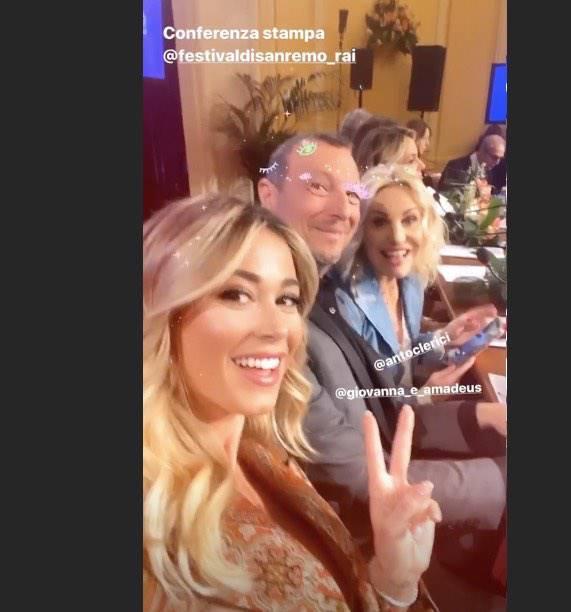 Selfie da Sanremo: Leotta, Clerici, Amadeus