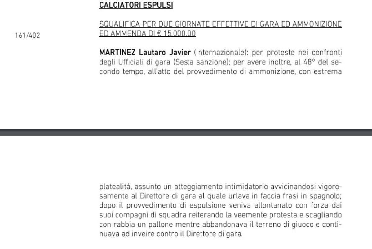 La squalifica imposta a Lautaro Martinez