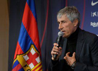 Quique Setien vonferenza stampa con il Barcellona