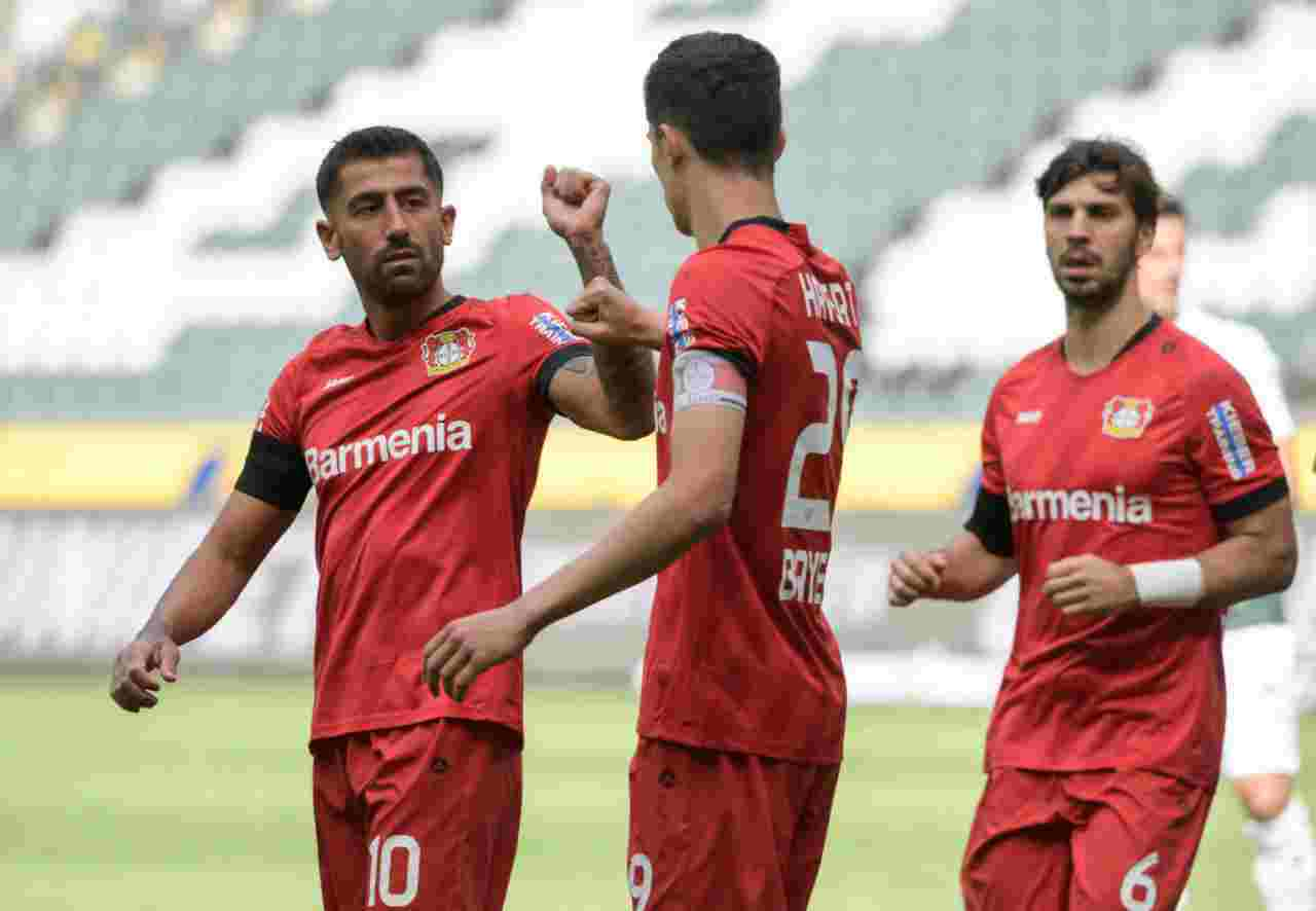 Havertz e Demirbay dopo il gol del 2-1 al Borussia Monchengladbach