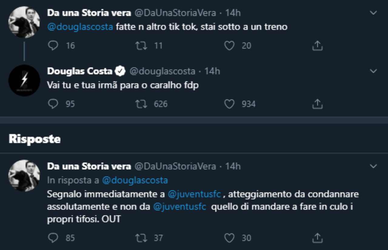 Il litigio tra Douglas Costa e il tifoso (Twitter)