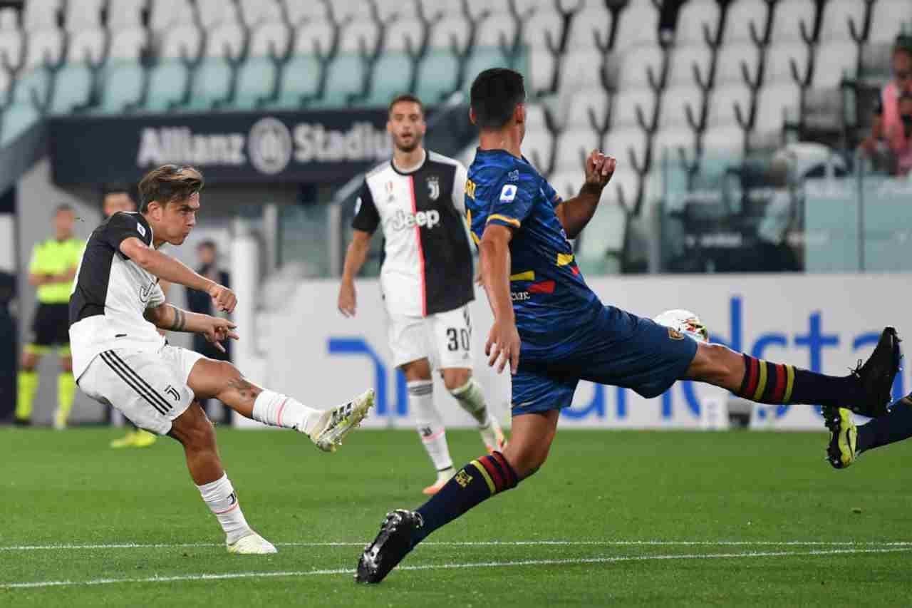 Il gol di Dybala contro il Lecce