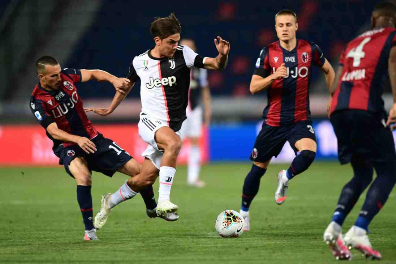 Serie A, Paiulo Dybala in azione durante Bologna-Juventus