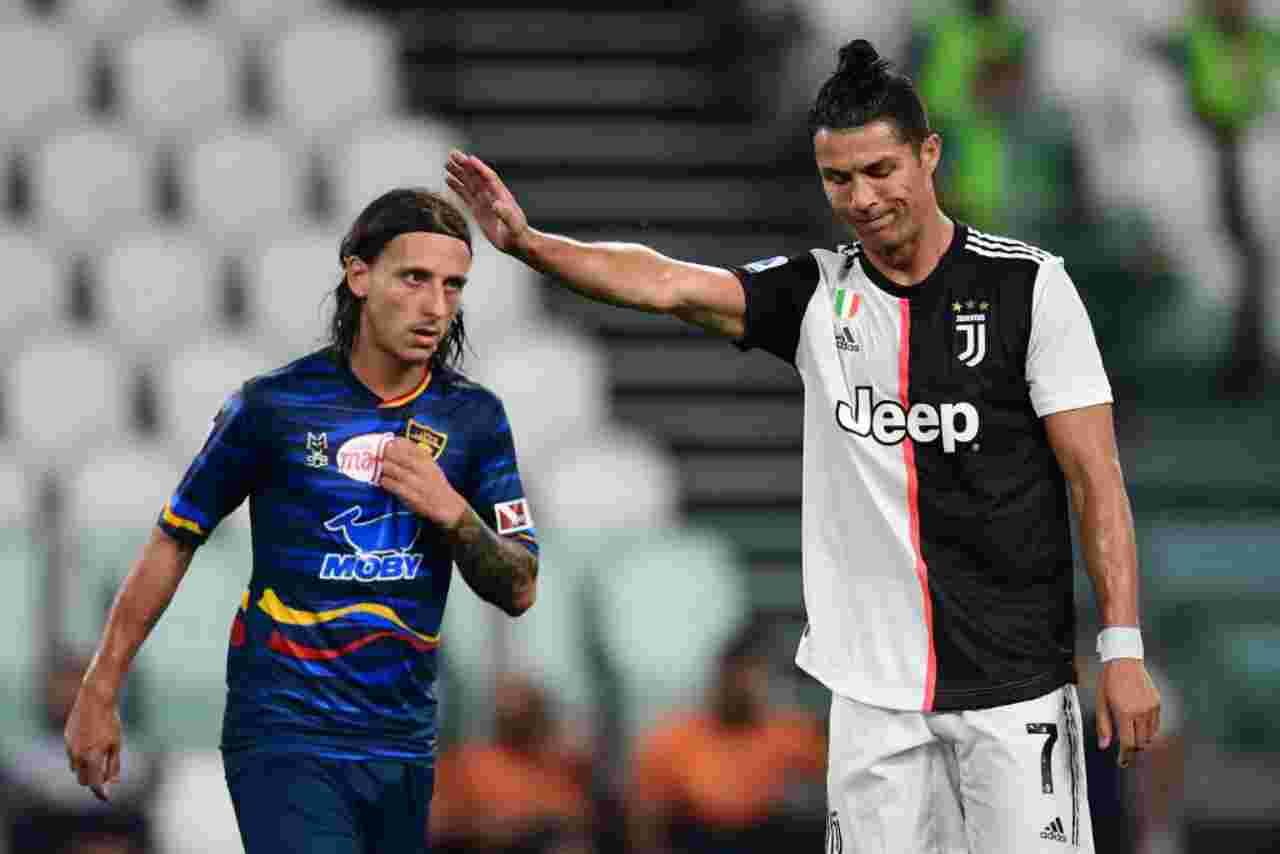 Un fotogramma di Juventus-Lecce