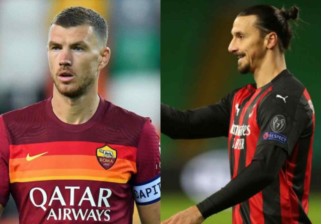 Dzeko e Ibrahimovic avversari in Milan-Roma (Getty Images)
