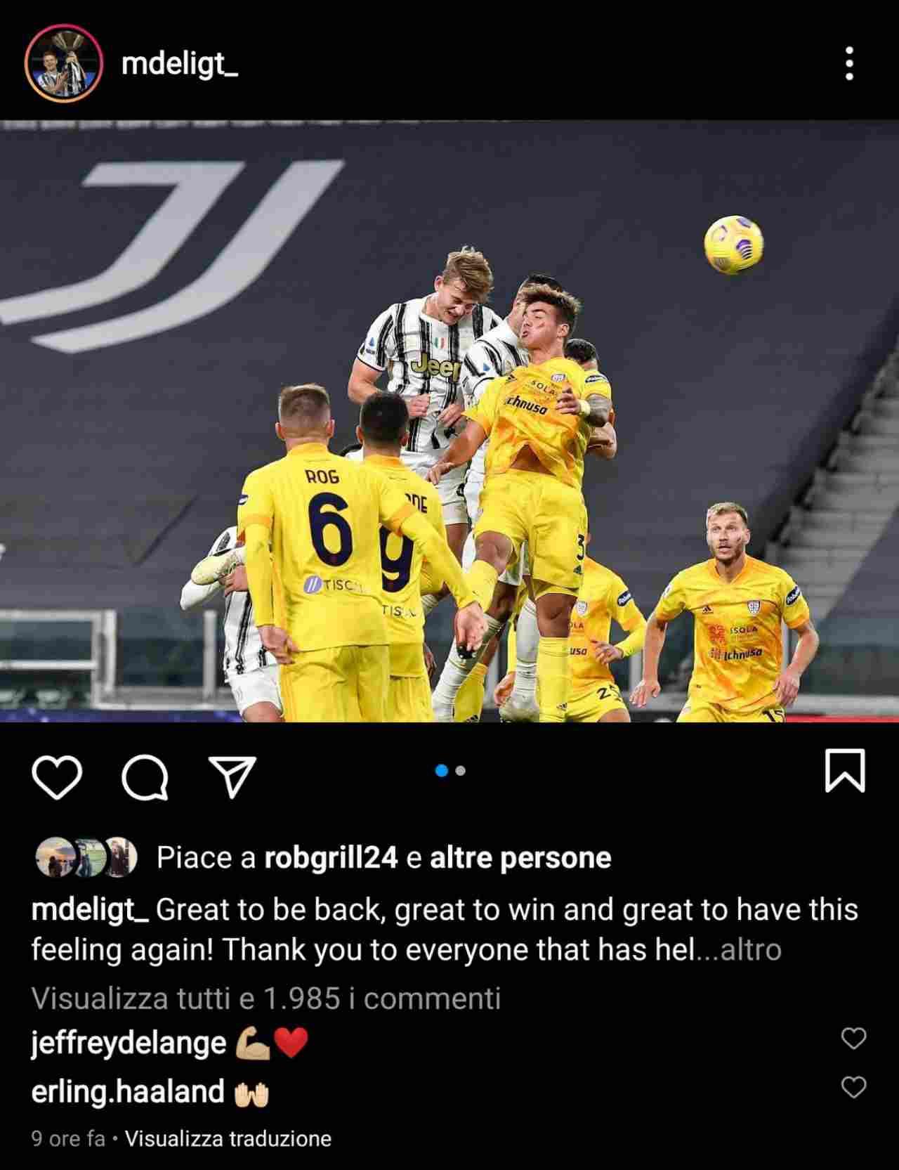 Haaland commenta la foto di De Ligt (Instagram)