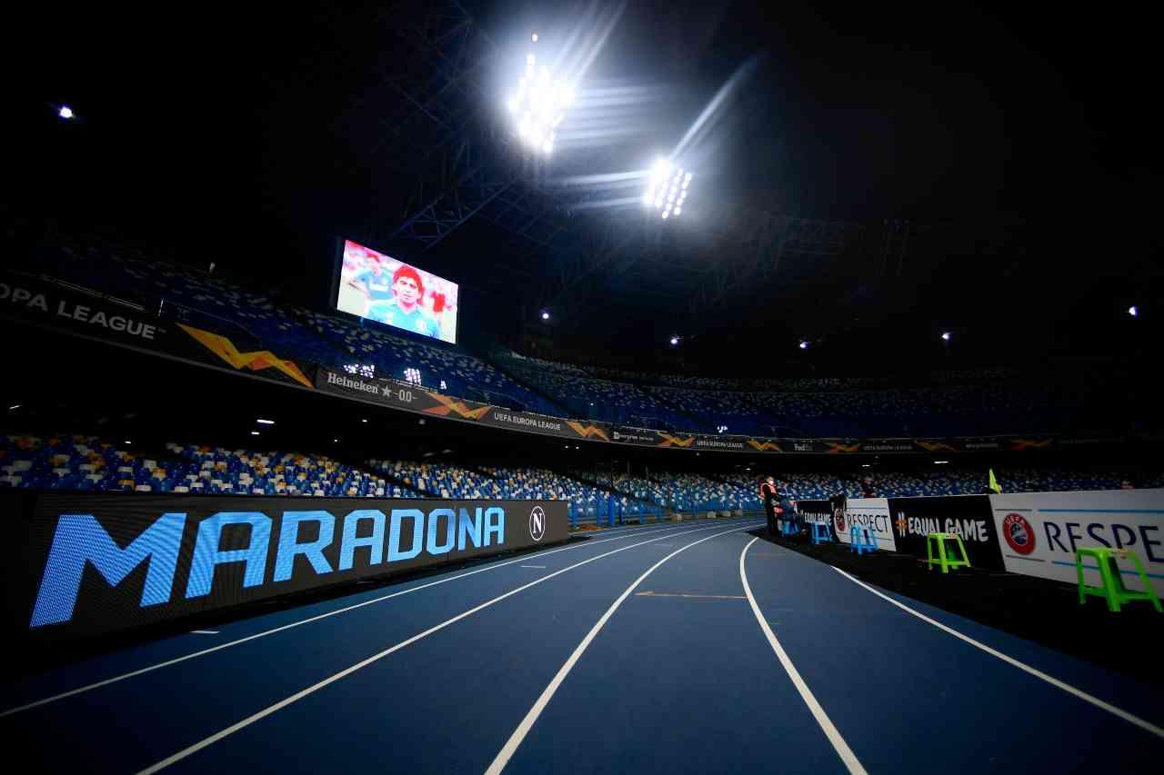 Napoli, il minuto di silenzio per Maradona prima della sfida contro il Rijeka