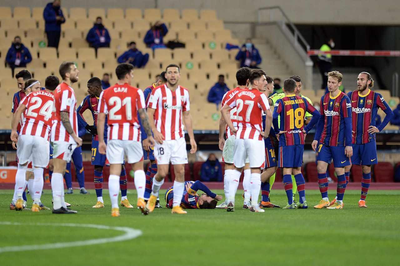 Rosso a Messi, la Supercoppa va all'Athletic