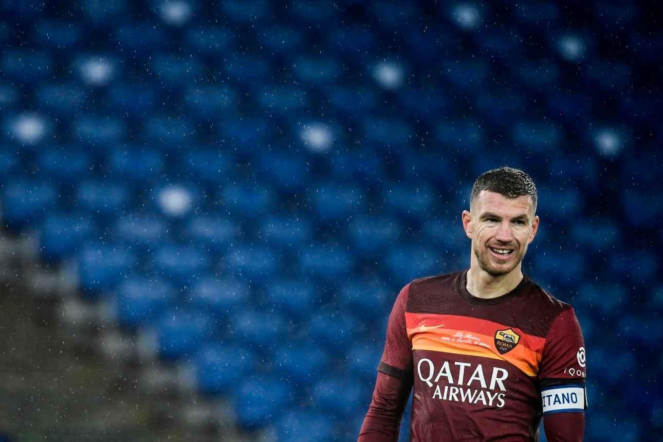 Dzeko, che sfida con immobile nel derby Lazio-Roma (foto Getty)