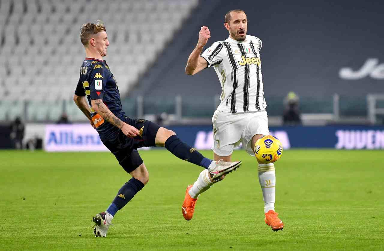 Rovella (qui con Chiellini) resterà al Genoa fino al 2022