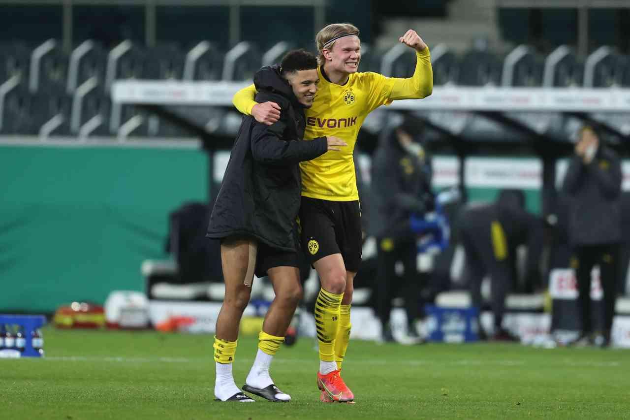 Sancho e Haaland verso Manchester City-Dortmund (foto Getty)