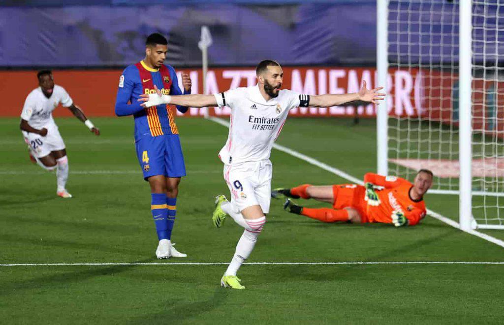 Clasico Benzema gol di tacco (Getty Images)