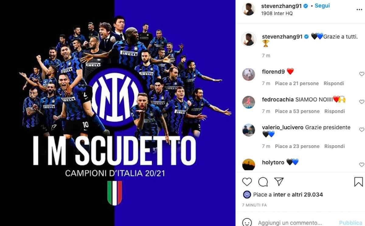 Steven Zhang messaggio festa Scudetto Inter