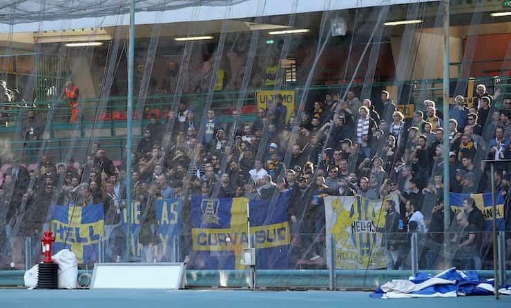 Striscione contro i partenopei prima di Napoli Verona (Getty Images)