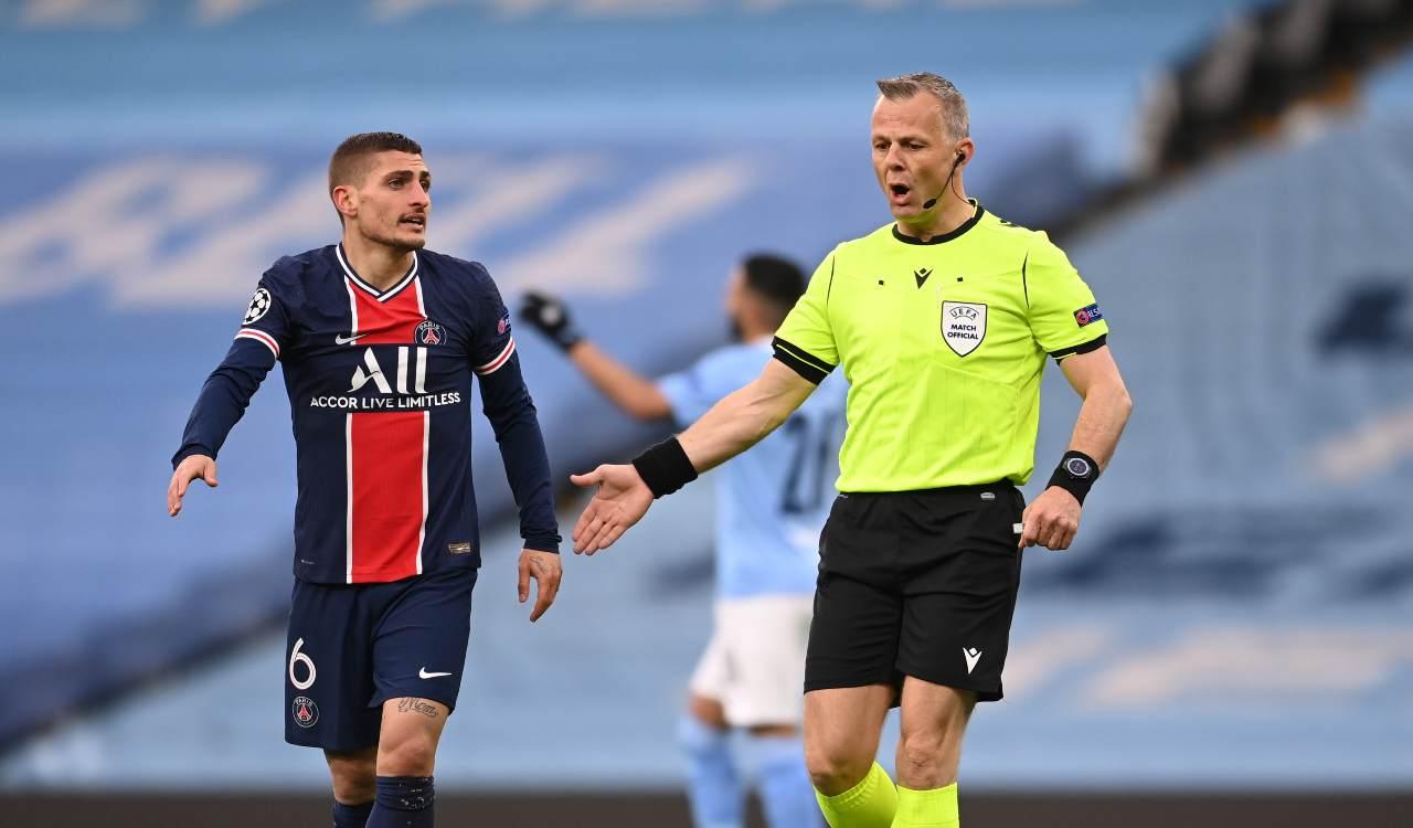 Verratti contro l'arbitro di City PSG