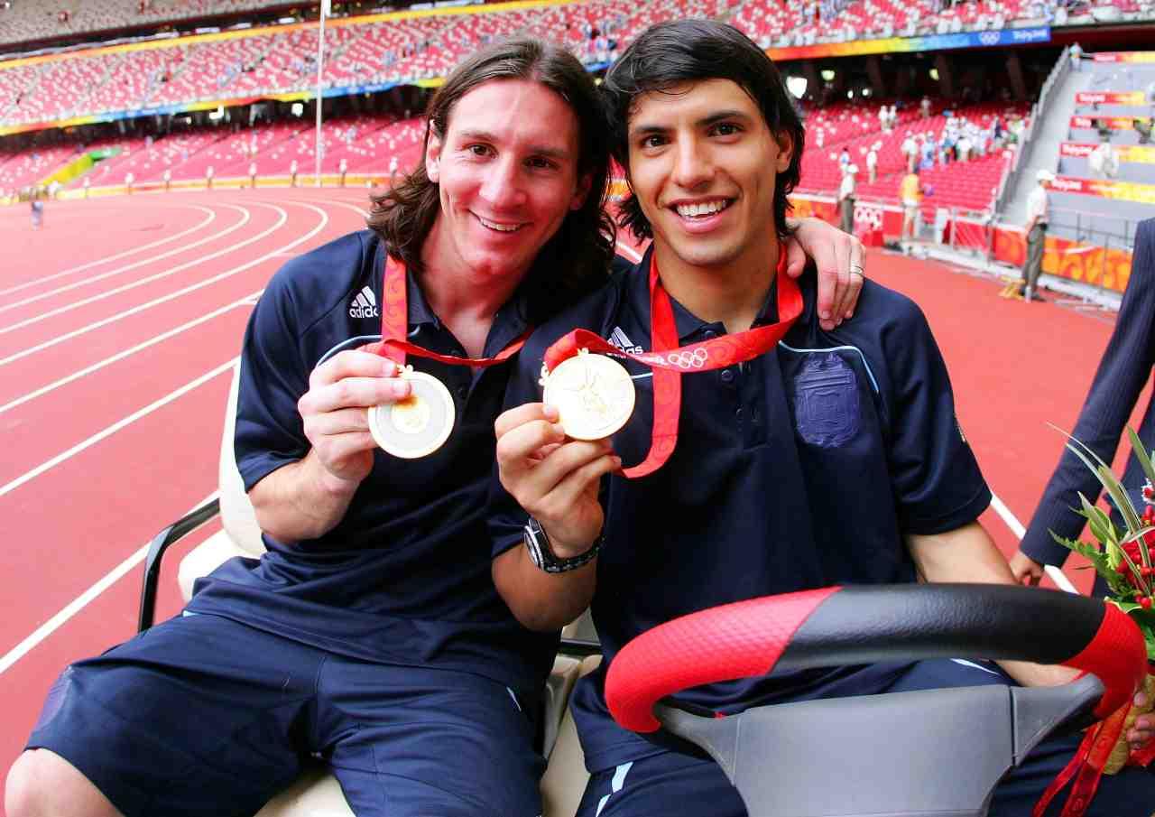 Gli amici Aguero e Messi alle Olimpiadi del 2008
