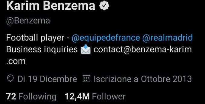 Benzema Francia profilo Twitter