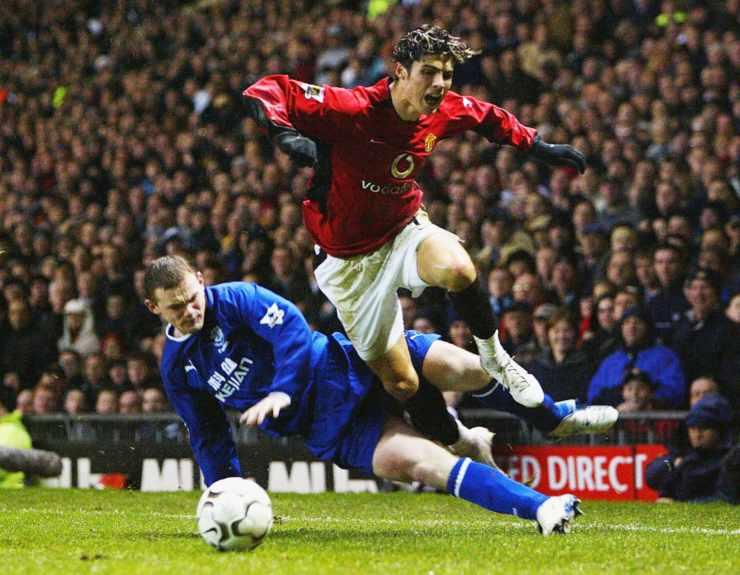 Cristiano Ronaldo in azione al Manchester United