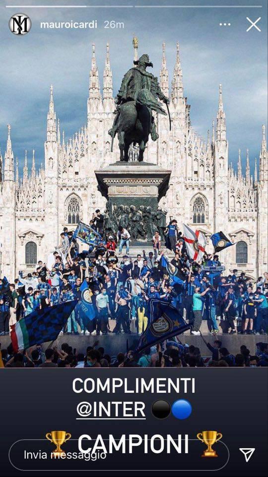 Inter, i complimenti di Icardi per lo scudetto