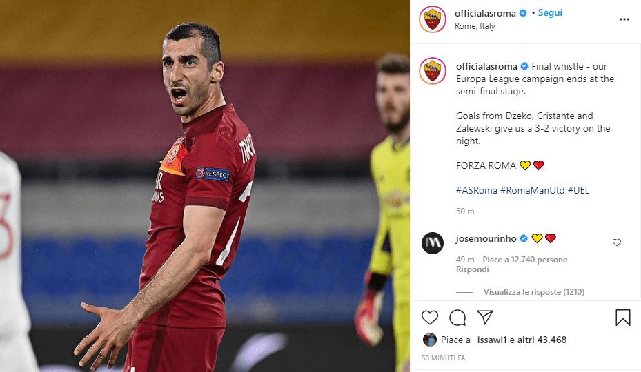 Post Instagram Roma Mourinho Europa League