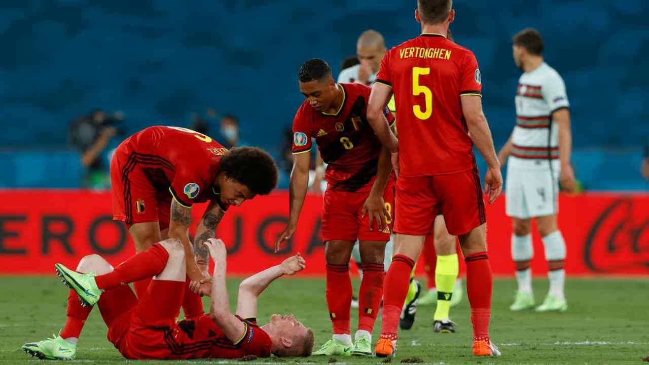 Belgio Portogallo De Bruyne Infortunio