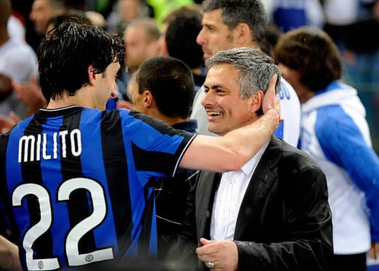 Diego Milito e José Mourinho