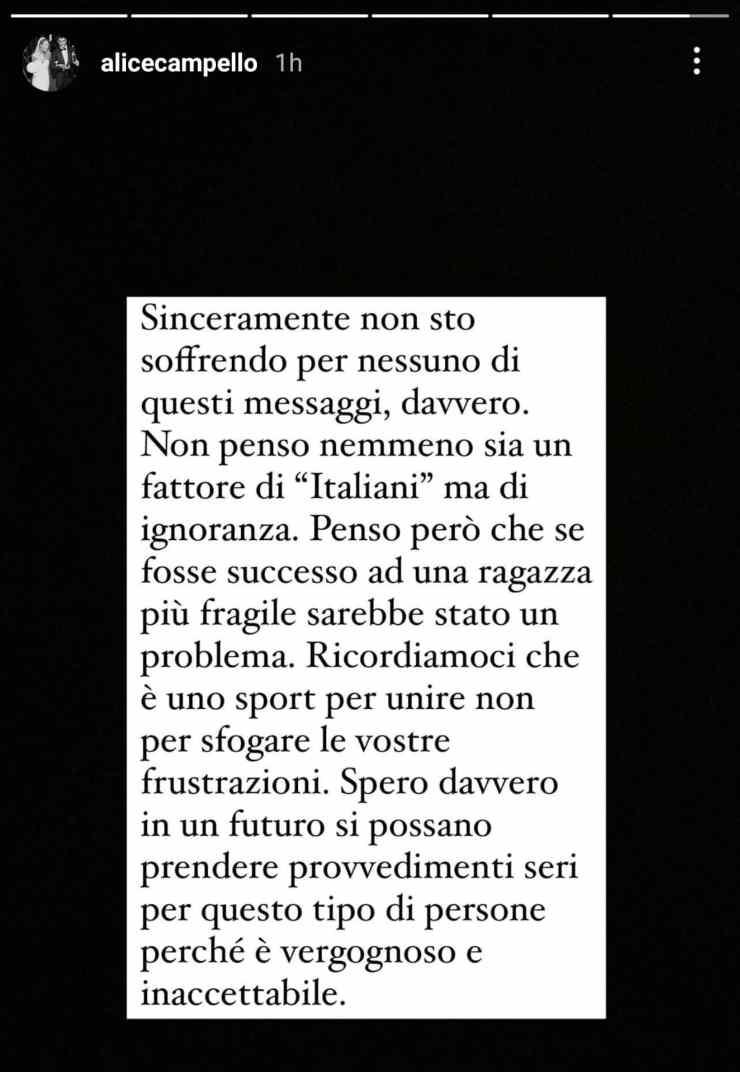 Alice Campello minacce