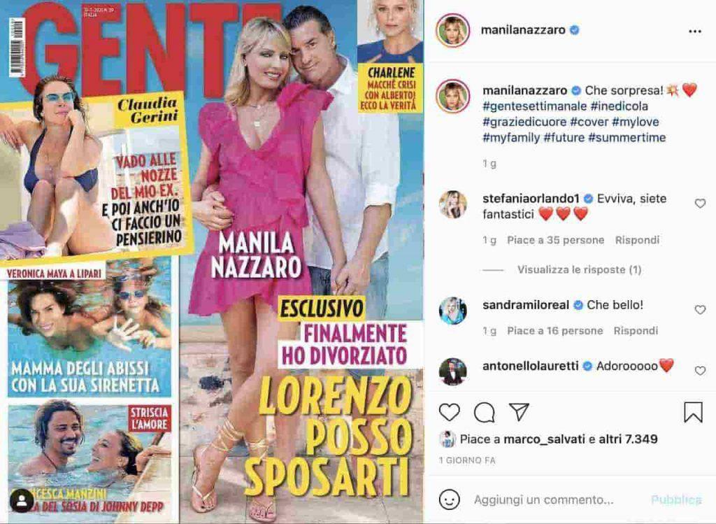 La Nazzaro e Amoruso in copertina su Gente (Instagram)