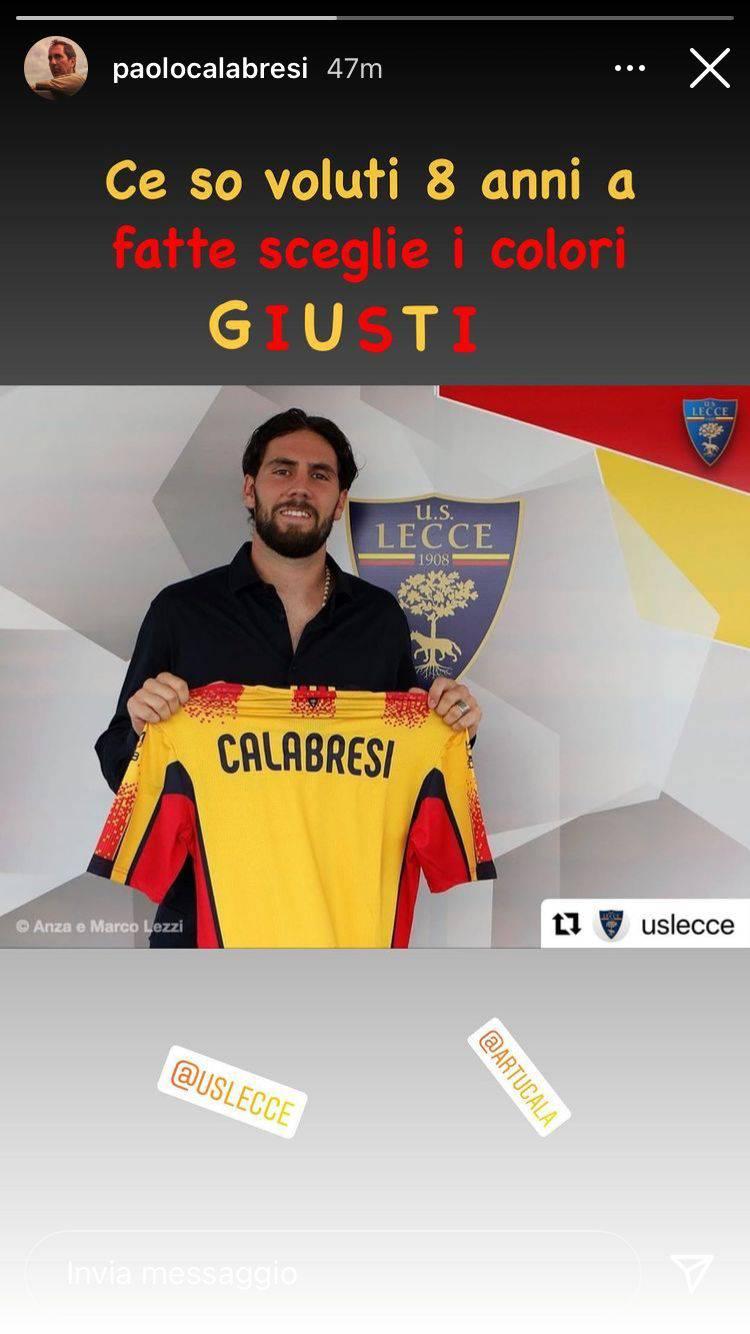 """Arturo Calabresi al Lecce, la reazione di """"Biascica"""""""